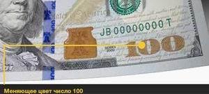 Новые доллары, сША новые элементы защиты